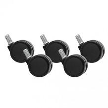 Amstyle 5er Set Rollen für Bürostuhl Bürostuhlrollen Schwarz PIN 11mm / Durchmesser 50 mm (Hartbodenrollen)