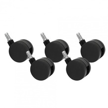 Amstyle 5er Set Rollen für Bürostuhl Bürostuhlrollen Schwarz PIN 11mm/Durchmesser 60 mm (Teppichbodenrollen)