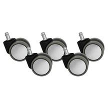 Amstyle 5er Set Rollen für Bürostuhl Silbern Grau PIN 11mm / Durchmesser 60 mm (Hartbodenrollen)