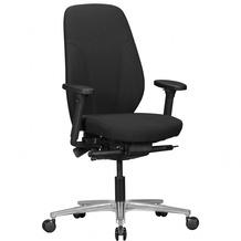 Amstyle Bürostuhl OSKAR mit Stoff-Bezug in Schwarz, Design Schreibtisch-Stuhl mit Synchromechanik & verstellbaren Armlehnen, Drehstuhl Drehsessel ergonomisch 120 kg Schwarz