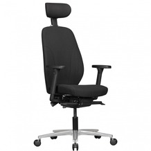 Amstyle Bürostuhl OSKAR mit Stoff-Bezug & Kopfstütze in Schwarz, Design Chef-Sessel mit Synchromechanik & verstellbaren Armlehnen, Schreibtisch-Stuhl Drehstuhl ergonomisch 120 kg Schwarz