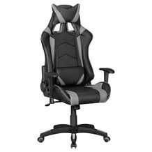 Amstyle Bürostuhl SCORE Leder-Optik Schwarz / Grau Schreibtischstuhl Chefsessel Gaming Chair Drehstuhl