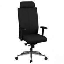 Amstyle Chefsessel Adrian schwarz Stoffbezug Drehstuhl mit Kopfstütze