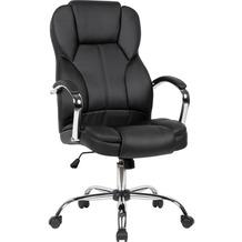 Amstyle Chefsessel Bezug Kunstleder Schwarz Schreibtischstuhl bis 120 kg, Drehstuhl Höhenverstellbar schwarz