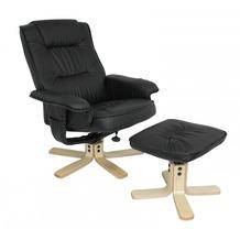 Amstyle Comfort TV Fernsehsessel Relaxsessel Leder Optik schwarz drehbar mit Hocker