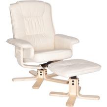 Amstyle Comfort XXL Relaxsessel mit Fußauflage in Leder Optik Creme TV Fernsehsessel
