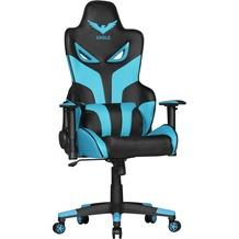 Amstyle Design Schreibtischstuhl LIAS Kunstleder Schwarz / Blau Bürostuhl 120kg, Gamer Stuhl ergonomisch, Gaming Chair mit Liegefunktion, Racer Drehstuhl mit Kissen, Chefsessel Bürosessel blau