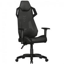 Amstyle GamePad - Gaming Chair aus Kunstleder / Mesh in Schwarz, Schreibtisch-Stuhl in Leder-Optik, Design Racing Chefsessel mit Armlehne, Gamer Bürostuhl mit Racer Sport-Sitz und Kopfstütze, Drehstuhl in Race-Optik Schwarz
