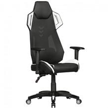 Amstyle GamePad - Gaming Chair aus Kunstleder / Mesh in Schwarz / Weiß, Schreibtisch-Stuhl in Leder-Optik, Design Racing Chefsessel mit Armlehne, Gamer Bürostuhl mit Racer Sport-Sitz und Kopfstütze, Drehstuhl in Race-Optik Schwarzweiß