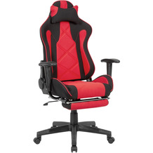 Amstyle Gaming-Schreibtischstuhl Bezug Stoff Schwarz/Rot Drehstuhl bis 120 kg, Büro-Arbeitsstuhl
