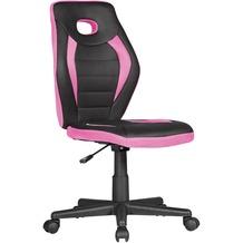 Amstyle Kinderdrehstuhl LUAN schwarz/pink für Kinder ab 6 mit Lehne, Kinderdrehstuhl ergonomisch