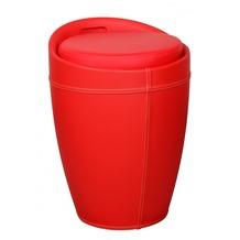 Amstyle Lucy Wäschebehälter Wäschekorb, Hocker mit Funktion, Badhocker Leder Optik rot
