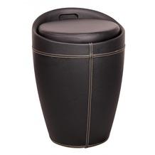Amstyle Lucy Wäschebehälter Wäschekorb, Hocker mit Funktion, Badhocker Leder Optik schwarz