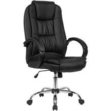 Amstyle Schreibtischstuhl Bezug Kunstleder Schwarz Bürodrehstuhl bis 120 kg, Drehstuhl Höhenverstellbar, Design Bürosessel mit Armlehnen & hoher Rückenlehne schwarz