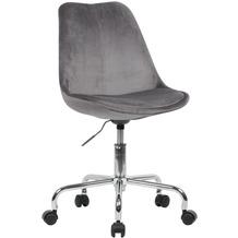 Amstyle Schreibtischstuhl Dunkelgrau Samt, Design Drehstuhl mit Lehne, Arbeitsstuhl 110 kg Maximalbelastung