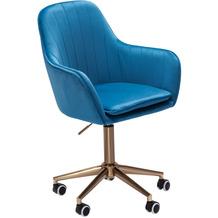 Amstyle Schreibtischstuhl Samt Blau, Design Drehstuhl mit Lehne, Arbeitsstuhl 120 kg Höhenverstellbar, Schalenstuhl mit Rollen, Stuhl Drehbar