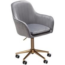 Amstyle Schreibtischstuhl Samt Grau, Design Drehstuhl mit Lehne, Arbeitsstuhl 120 kg Höhenverstellbar, Schalenstuhl mit Rollen, Stuhl Drehbar