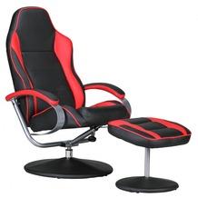 Amstyle Sporting TV Fernsehsessel Relaxsessel schwarz / rot drehbar mit Hocker