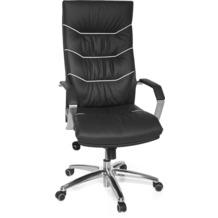 Amstyle XXL Chefsessel Ferrol Echtleder schwarz, 5-Punkt Multiblock-Mechanik, Bürostuhl bis 120kg