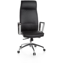 Amstyle XXL Chefsessel Verona Echtleder Schwarz, Bürostuhl mit 5-Stufen Synchronmechanik (120kg)
