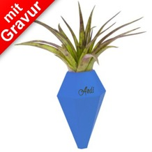 Anhängsel Blumenvase LOM blau MIT GRAVUR (z.B. Namen) Horizontal