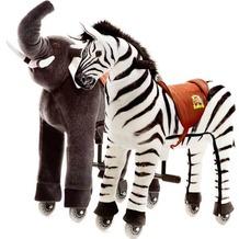 Animal Riding Elefant Sultan & Zebra Marthi small, für Kinder von 3-5 Jahren (10 Kg - 40 Kg)