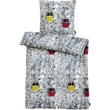 APELT Bettwäsche Enno Moonlight weiß/grau - gelb/rot 135x200+80x80 cm