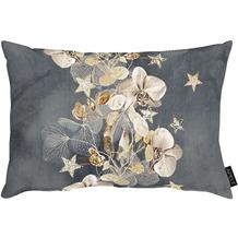 APELT Christmas Elegance Kissen Blüten, Sternen und Zweigen anthrazit / gold 35x50 cm