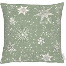 APELT Christmas Elegance Kissen Sternenmotiv als all-over grün / gold 39x39 cm