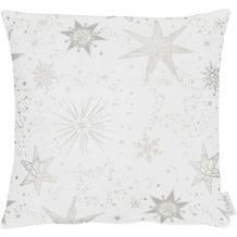 APELT Christmas Elegance Kissen Sternenmotiv als all-over weiß / silber 39x39 cm