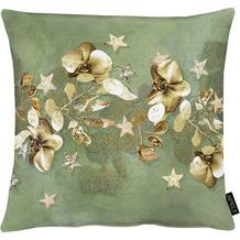 APELT Christmas Elegance Kissenhülle Blüten, Sternen und Zweigen grün / gold 49x49 cm