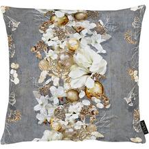 APELT Christmas Elegance Kissenhülle Blüten, Weihnachtsschmuck und Zweigen anthrazit / gold 49x49 cm
