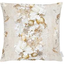APELT Christmas Elegance Kissenhülle Blüten, Weihnachtsschmuck und Zweigen natur / gold 49x49 cm