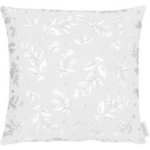 APELT Christmas Elegance Kissenhülle Ilex- und Sternenmotiv weiß / silber 40x40 cm