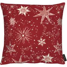 APELT Christmas Elegance Kissenhülle Sternenmotiv als all-over rot / gold 40x40 cm