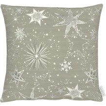 APELT Christmas Elegance Kissenhülle Sternenmotiv als all-over taupe / silber 40x40 cm