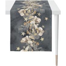 APELT Christmas Elegance Läufer Blüten, Sternen und Zweigen anthrazit / gold 46x140 cm