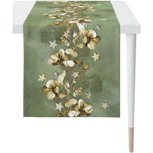 APELT Christmas Elegance Läufer Blüten, Sternen und Zweigen grün / gold 46x140 cm