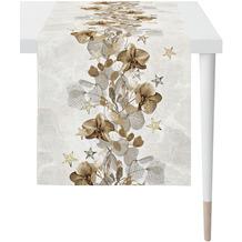APELT Christmas Elegance Läufer Blüten, Sternen und Zweigen natur / gold 46x140 cm