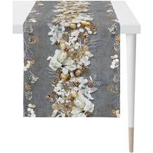 APELT Christmas Elegance Läufer Blüten, Weihnachtsschmuck und Zweigen anthrazit / gold 46x140 cm