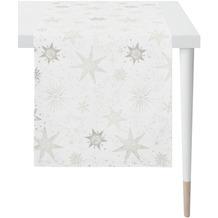 APELT Christmas Elegance Läufer Sternenmotiv als all-over weiß / silber 48x140 cm