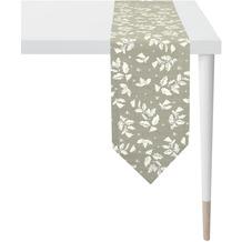 APELT Christmas Elegance Tischband Ilex- und Sternenmotiv taupe / silber 24x175 cm