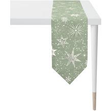 APELT Christmas Elegance Tischband Sternenmotiv als all-over grün / gold 24x175 cm