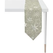 APELT Christmas Elegance Tischband Sternenmotiv als all-over taupe / silber 24x175 cm