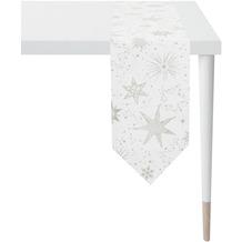 APELT Christmas Elegance Tischband Sternenmotiv als all-over weiß / silber 24x175 cm