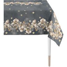APELT Christmas Elegance Tischdecke Blüten, Sternen und Zweigen anthrazit / gold 150x250 cm