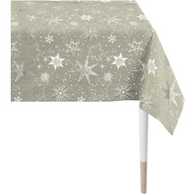 APELT Christmas Elegance Tischdecke Sternenmotiv als all-over taupe / silber 150x250 cm