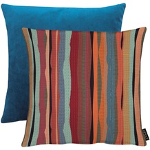 APELT Easy Living Kissen Vorderseite: Streifen multi/blau - Rückseite: Uni dunkelblau 45x45 cm