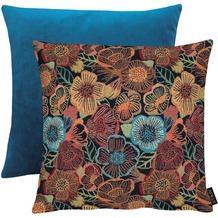 APELT Easy Living Kissen Vorderseite: Blumen multi/blau - Rückseite: Uni dunkelblau 45x45 cm
