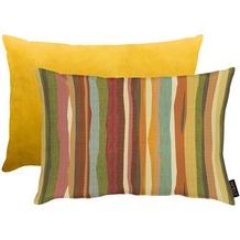 APELT Easy Living Kissen Vorderseite: multi/orange - Rückseite: Uni gelb 35x45 cm